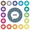 Delete comment flat white icons on round color backgrounds - Delete comment flat white icons on round color backgrounds. 17 background color variations are included.