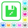 Compress file vivid colored flat icons in curved borders on white background - Compress file vivid colored flat icons