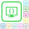 Developing application vivid colored flat icons - Developing application vivid colored flat icons in curved borders on white background