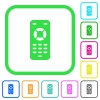 Remote control vivid colored flat icons - Remote control vivid colored flat icons in curved borders on white background