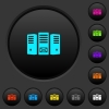 Mail server dark push buttons with color icons - Mail server dark push buttons with vivid color icons on dark grey background