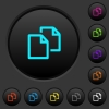 Copy document dark push buttons with color icons - Copy document dark push buttons with vivid color icons on dark grey background