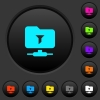 Filter FTP remote directory dark push buttons with color icons - Filter FTP remote directory dark push buttons with vivid color icons on dark grey background