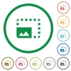 Enlarge photo flat icons with outlines - Enlarge photo flat color icons in round outlines on white background
