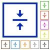 Vertical align center flat framed icons - Vertical align center flat color icons in square frames on white background