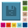 Share file engraved icons on edged square buttons - Share file engraved icons on edged square buttons in various trendy colors