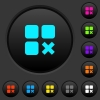 Component cancel dark push buttons with color icons - Component cancel dark push buttons with vivid color icons on dark grey background