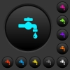 Water faucet with water drop dark push buttons with color icons - Water faucet with water drop dark push buttons with vivid color icons on dark grey background