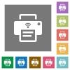 Wireless printer square flat icons - Wireless printer flat icons on simple color square backgrounds