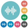 Sound wave flat white icons on round color backgrounds - Sound wave flat round icons