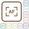 Camera autofocus mode simple icons - Camera autofocus mode simple icons in color rounded square frames on white background