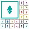 Ethereum digital cryptocurrency flat color icons with quadrant frames - Ethereum digital cryptocurrency flat color icons with quadrant frames on white background