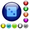 Dice three color glass buttons - Dice three icons on round color glass buttons