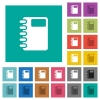 Spiral notebook square flat multi colored icons - Spiral notebook multi colored flat icons on plain square backgrounds. Included white and darker icon variations for hover or active effects.