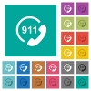 Emergency call 911 square flat multi colored icons - Emergency call 911 multi colored flat icons on plain square backgrounds. Included white and darker icon variations for hover or active effects.