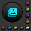 Upload multiple images dark push buttons with color icons - Upload multiple images dark push buttons with vivid color icons on dark grey background