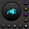 Power plug dark push buttons with color icons - Power plug dark push buttons with vivid color icons on dark grey background