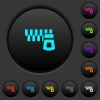 Horizontal zipper dark push buttons with color icons - Horizontal zipper dark push buttons with vivid color icons on dark grey background