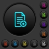 Document settings dark push buttons with color icons - Document settings dark push buttons with vivid color icons on dark grey background