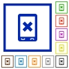 Mobile cancel flat framed icons - Mobile cancel flat color icons in square frames on white background
