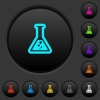 Flask with liquid dark push buttons with color icons - Flask with liquid dark push buttons with vivid color icons on dark grey background