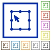 Free transform object flat framed icons - Free transform object flat color icons in square frames on white background