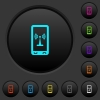 Mobile hotspot dark push buttons with color icons - Mobile hotspot dark push buttons with vivid color icons on dark grey background