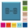 Syncronize databases engraved icons on edged square buttons - Syncronize databases engraved icons on edged square buttons in various trendy colors