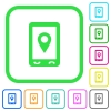 Mobile navigation vivid colored flat icons - Mobile navigation vivid colored flat icons in curved borders on white background