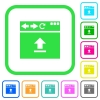 Browser upload vivid colored flat icons - Browser upload vivid colored flat icons in curved borders on white background