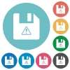 File warning flat round icons - File warning flat white icons on round color backgrounds
