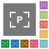 Camera program mode square flat icons - Camera program mode flat icons on simple color square backgrounds