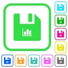 File statistics vivid colored flat icons - File statistics vivid colored flat icons in curved borders on white background