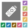 Working remote control square flat icons - Working remote control flat icons on simple color square backgrounds