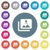 Upload multiple images flat white icons on round color backgrounds. 17 background color variations are included. - Upload multiple images flat white icons on round color backgrounds