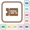 50 percent discount coupon simple icons - 50 percent discount coupon simple icons in color rounded square frames on white background