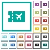 Air travel discount coupon flat color icons with quadrant frames - Air travel discount coupon flat color icons with quadrant frames on white background