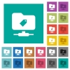 FTP tag square flat multi colored icons - FTP tag multi colored flat icons on plain square backgrounds. Included white and darker icon variations for hover or active effects.