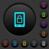 Lock mobile dark push buttons with color icons - Lock mobile dark push buttons with vivid color icons on dark grey background