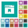 Browser bookmark square flat multi colored icons - Browser bookmark multi colored flat icons on plain square backgrounds. Included white and darker icon variations for hover or active effects.