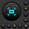 Small screen dark push buttons with vivid color icons on dark grey background - Small screen dark push buttons with color icons