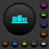 Winners podium with inside numbers dark push buttons with vivid color icons on dark grey background - Winners podium with inside numbers dark push buttons with color icons