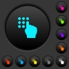 Typing security code dark push buttons with color icons - Typing security code dark push buttons with vivid color icons on dark grey background