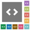 Script code square flat icons - Script code flat icons on simple color square backgrounds