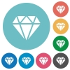Diamond flat round icons - Diamond flat white icons on round color backgrounds