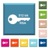 512 bit rsa encryption white icons on edged square buttons - 512 bit rsa encryption white icons on edged square buttons in various trendy colors
