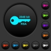 2048 bit rsa encryption dark push buttons with color icons - 2048 bit rsa encryption dark push buttons with vivid color icons on dark grey background