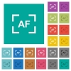 Camera autofocus mode square flat multi colored icons - Camera autofocus mode multi colored flat icons on plain square backgrounds. Included white and darker icon variations for hover or active effects.