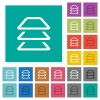 Multiple layers multi colored flat icons on plain square backgrounds. Included white and darker icon variations for hover or active effects. - Multiple layers square flat multi colored icons