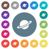 Planet flat white icons on round color backgrounds - Planet flat white icons on round color backgrounds. 17 background color variations are included.